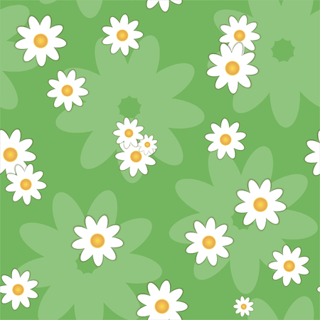 Floral seamless pattern with camomiles on a green background. Vector.