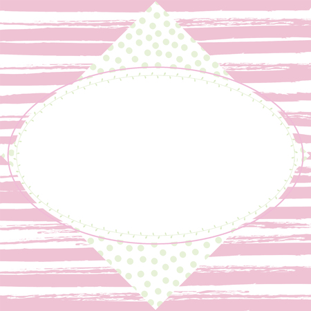 Spring pastel frame on a striped background and polka dot background Vector.