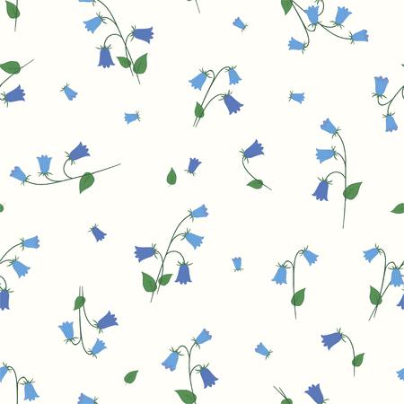 Floral seamless pattern with small blue bells. Vector. Ilustração