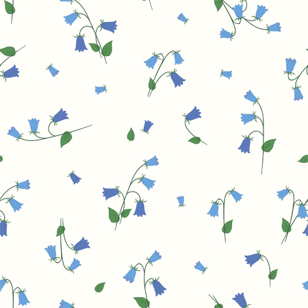 Floral seamless pattern with small blue bells. Vector. Illustration