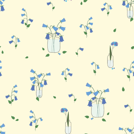 Floral seamless pattern with blue flowers in a bottle.