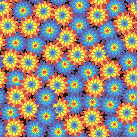 Floral seamless pattern with rainbow-colored flowers on a black background. Vector.