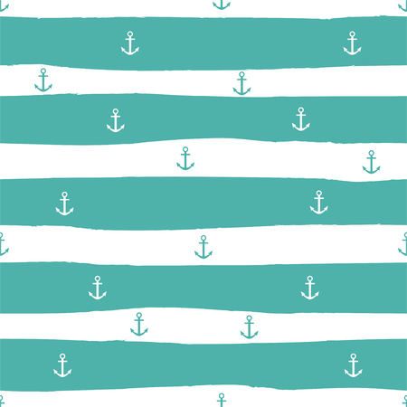 Marine striped seamless pattern with anchors and turquoise stripes. Vector. Çizim