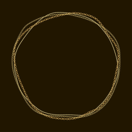 Round frame with various golden chains on a black background. Vector.