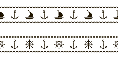 A set of marine patterns with ships, anchors, steering wheels and chains for tape and edging. Vector.