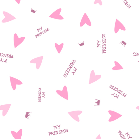 Pink hearts and inscription. Vector.