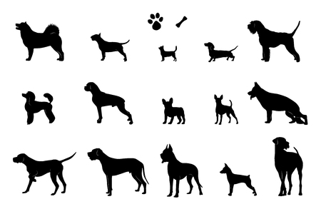 The set of silhouettes of 15 different dogs, bone and footprint. Vector.