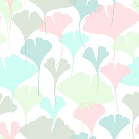 Floral seamless pattern with ginkgo biloba leaves.