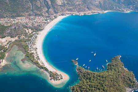 bird 's eye view: Oludeniz view from parachute, Fethiye, Turkey