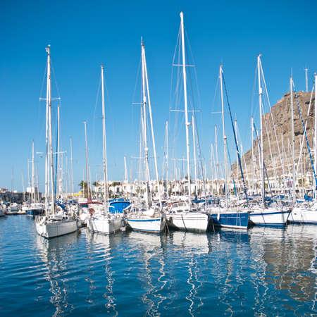Yachts in Puerto de Mogan, Gran Canaria Stock Photo