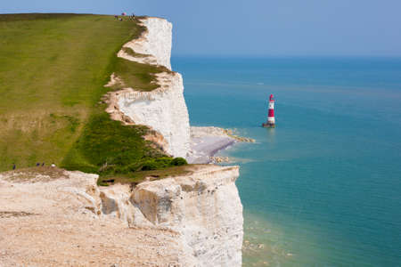 People on a clifftop, Beachy head, East Sussex, UK Stock Photo