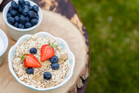 Breakfast in the garden: oatmeal cereals with berries on the dark wooden table, selective focus