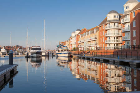 EASTBOURNE, ENGLAND - OCTOBER 02. Yachts in Sovereign harbour in the evening light on October 02, 2015, Eastbourne, East Sussex, Enlgand Stock Photo