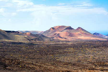 Volcanic landscapes in Timanfaya, Lanzarote Stock Photo