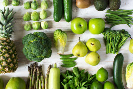 Top view of green fruits and vegetables Stock fotó
