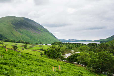 View of Wast Water, on the way to Scafell pike, the highest mountain in England, Lake District National Park, England, selective focus Stock Photo