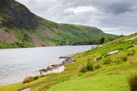cumbria: Wast Water lake, view from the side of the road, Lake District National Park, England, selective focus