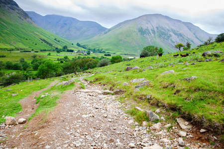 Walking path to Scafell pike, the highest mountain in England, Lake District National Park, England, selective focus