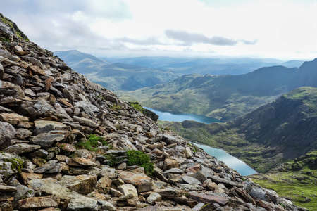 Track in Snowdonia National Park, North Wales, United Kingdom. view of the mountains and the lakes, selective focus