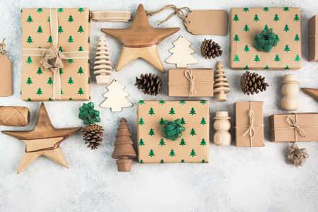 Top view of brown boxed Christmas presents Stock Photo