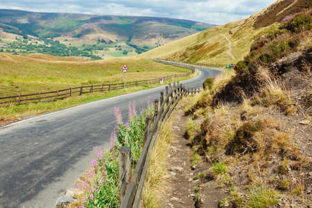 Peak District National Park, Derbyshire, England. Walks in Mam Tor, view of the hills and road selective focus