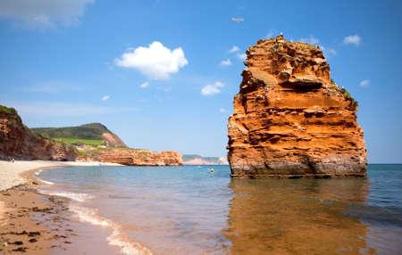 Ladram Bay, Devon, England; the rocks in the sea, selective focus