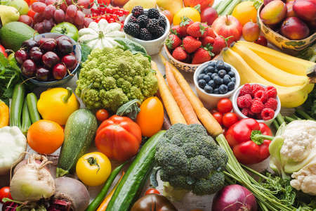 Healthy fruits vegetables berries background, cherries peaches strawberries cabbage broccoli cauliflower squash tomatoes carrots bananas beans beetroot, pepper, selective focus