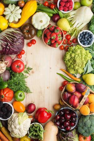 Fresh farm fruits vegetables on the table.