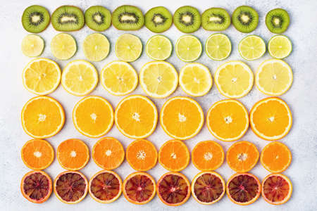 Different varieties of citrus fruits, oranges, lemons, limes, kiwis arranged in the rows. Colorful background, top view