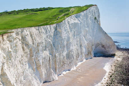 View of the white chalk cliffs in the morning, Seaford Head, East Sussex, England, part of Seven Sisters National park, selective focus