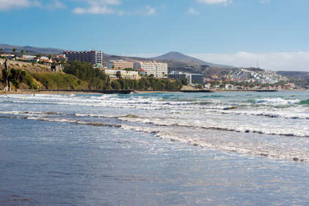 Beach and the sea in Playa del Ingles, Gran Canaria, Canary islands, view of the sea, hotels, beach, selective focus Stock Photo