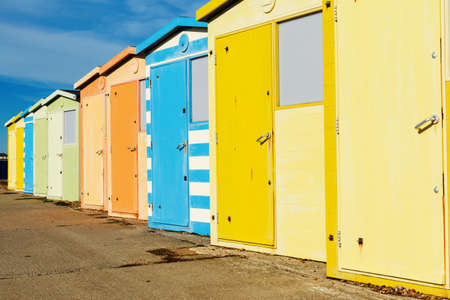 Seaside beach huts on Seaford beach, East Sussex. England, selective focus Stock Photo - 111163938