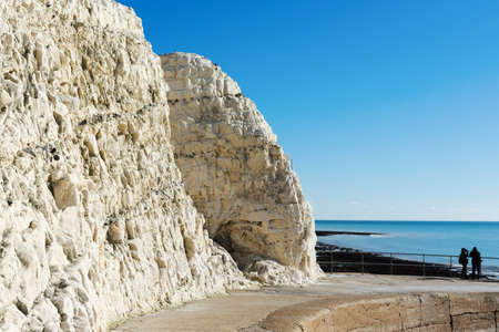 Walk to the splash point in Seaford East Sussex. England, cliffs, sea and the blue sky, near Seven Sisters National park Stock Photo - 111191583