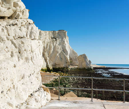 View of Seaford head from the splash point, East Sussex. England, cliffs, sea and the blue sky, near Seven Sisters National park