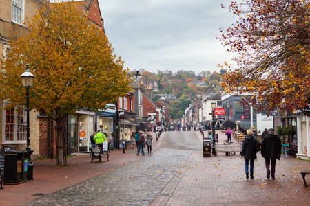 LEWES, ENGLAND - 6 November 2018: landscape of Lewes town, shops and old houses at shopping street, East Sussex, England, UK