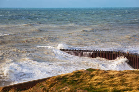 View of sea from Seaford beach, East Sussex, England Stock Photo