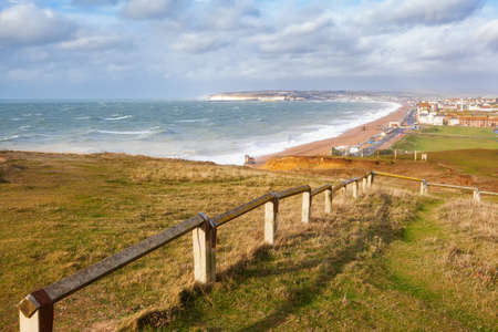 Seaford Head walk on top of the cliffs, East Sussex, England Stock Photo
