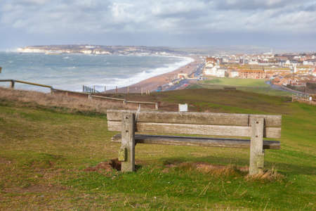 Seaford Head walk on top of the cliffs, East Sussex, England.