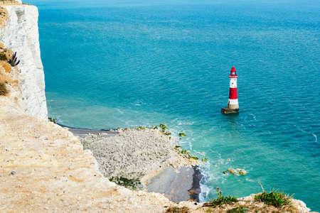 Vue sur le phare de Beachy Head près d'Eastbourne, Angleterre, Seven Sisters National Park, Royaume-Uni, mise au point sélective