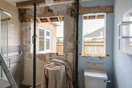 Renovation project of the bathroom, taking the windows out for replacement, selective focus