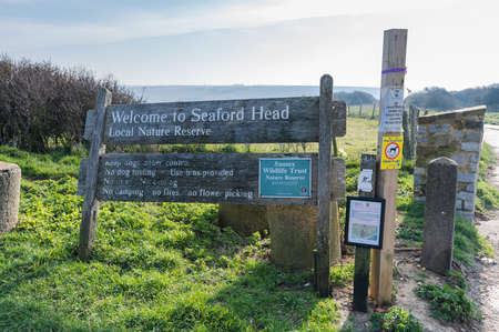 Head Nature reserve. Walk to Hope Gap and Cuckmere Haven beaches with further access to Beachy Head between Seaford and Eastbourne, East Sussex, UK, selective focus. Seaford England - 26 March 2020