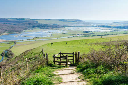 Walk from High and Over near Seaford and Eastbourne, East Sussex, footpath leading to Cuckmere Haven and Hope Gap beaches, country walks, selective focus