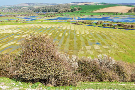 Views of Cucmere river near Seaford and Eastbourne, East Sussex from High and Over, footpath leading to Cuckmere Haven and Hope Gap beaches, country walks, selective focus Stock Photo