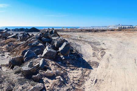 Building site in Costa Teguise, Lanzarote, Canary Islands, selective focus
