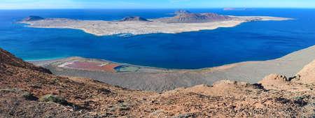 Panoramic view of Mirador Del Rio in Lanzarote, Canary Islands, selective focus