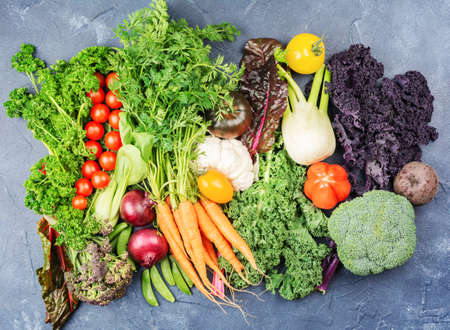 Variety of organic vegetables broccoli cauliflower carrots tomatoes kale pak choy onions. Healthy local farm produce on blue concrete table, top view, selective focus