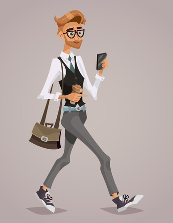 man: Happy businessman with a briefcase looking at his smartphone. Lifestyle business. Cartoon style. Illustration
