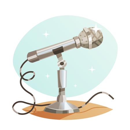 Vintage metal microphone isolated.
