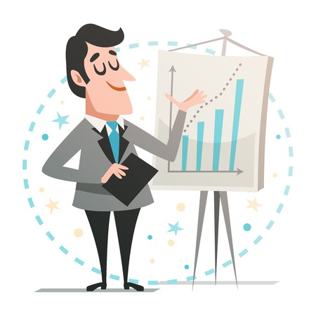 Happy businessman giving a presentation, showing a graph. Illustration