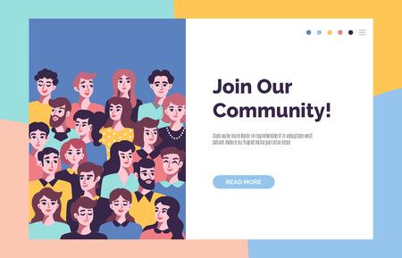Gemeinschaftskonzept mit männlichen und weiblichen Avataren. Geschäftsteam. Vektorillustration Vektorgrafik